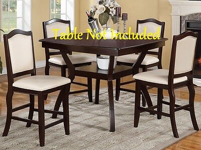 Set Of 4 Counter Height Dining Stylish Dining Espresso Finish Faux Leather Chair