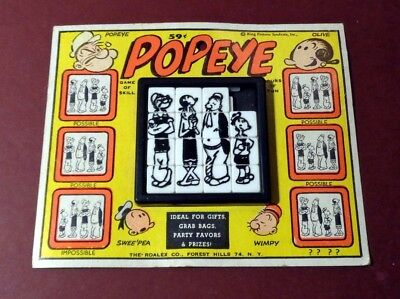 Vintage POPEYE 1960'S ROALEX SLIDE PUZZLE on CARD TOY GAME King Features