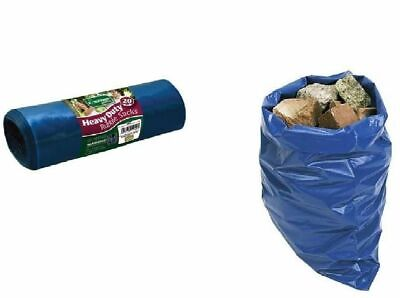 RUBBLE SACKS 20PC BLUE HEAVY DUTY STRONG GARDEN AND BUILDERS WASTE REFUSE SACKS