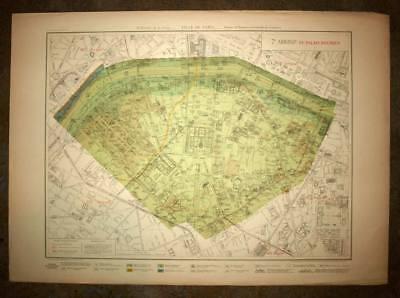 Plan antique card location of the 7eme, VIIth district de Paris 1924 rare