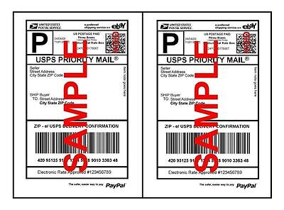 Self Adhesive Economy Thin Ebay - Paypal Mailing Shipping Labels 8.5 X 5.5