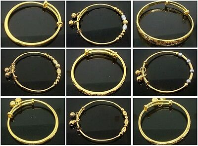 1pcs / Lot Fashion High Quality Children Gold Bangle Baby Gift Bracelet
