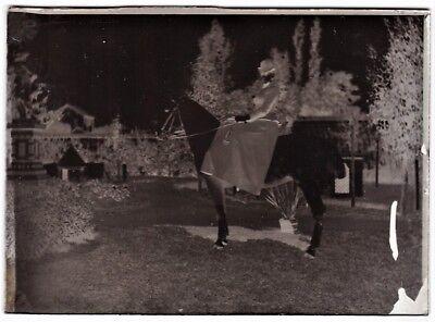 vintage 5 x 7 ORIGINAL glass photo negative side saddle horse woman amazone 1890