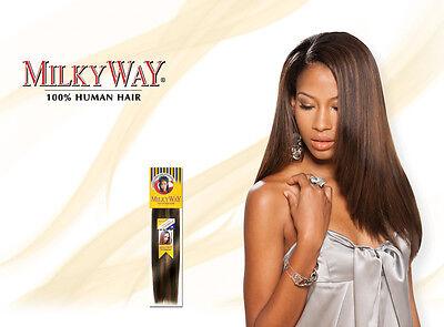 Milkyway 100% Human Hair Yaky/Yaki Weave Straight Extension 10