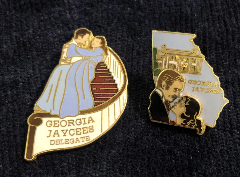 Jaycees Georgia  Gone With The Wind  Pins - Scarlet O'Hara Rhett Butler - Rare