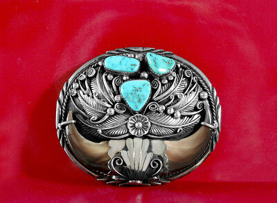 Native American Buckle Sterling Silver Turquoise Coral Vintage Signed NOS