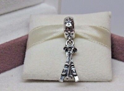 New w/Box Pandora Sterling Silver Snow Skis Dangle Charm #791367 Winter RETIRED