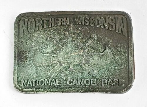 VTG Boy Scout Region 7 Northern Wisconsin National Canoe Base Belt Buckle Pewter