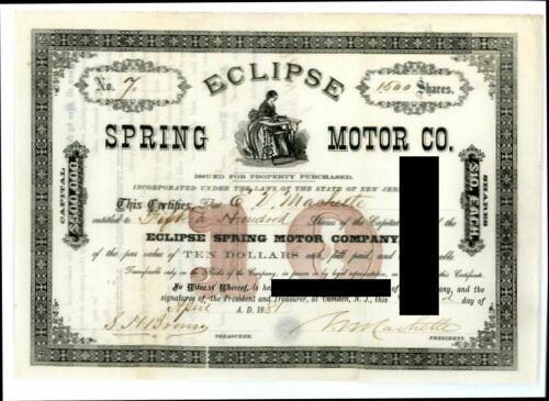 ECLIPSE SPRING MOTOR COMPANY New Jersey N J 1881 Stock Certificate Uncancelled