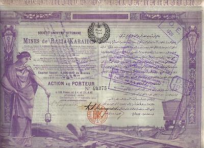 Original Ottoman Turkey Bond 1904 Mines Balia Karaidin 100 fr Uncancelled Deco