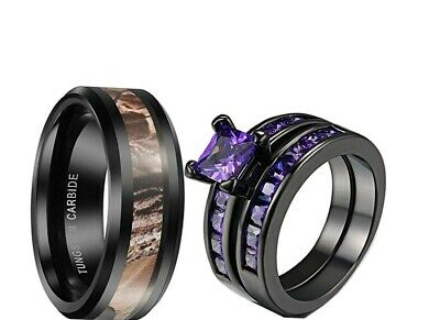 His Tungsten Camo and Her Purple cz Black Plated engagement wedding ring set New