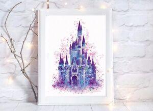 disney castle Watercolor a4 glossy poster Print nursery picture,purple unframed