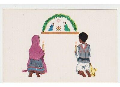 Postkarte Weihnachten Vintage Reli Kinder Kostüm Mexican Krippe Weihnachtskrippe