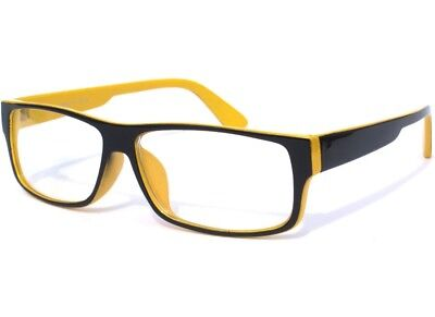 BLACK and YELLOW FRAME SMART NERDY RETRO CLEAR LENS HIPSTER (Black And Yellow Glasses)