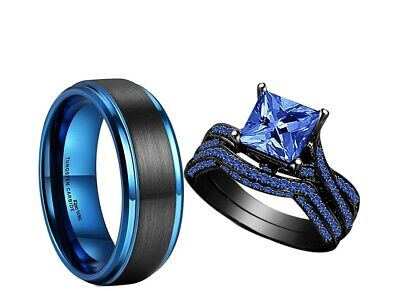 His Tungsten Blue and Her Blue Cz Black Gold Bridal Engagement Wedding Ring set - Blue And Gold Wedding