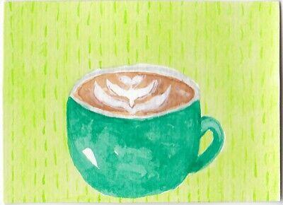 Aceo original watercolor painting coffee cup latte art cafe tea mug kitchen