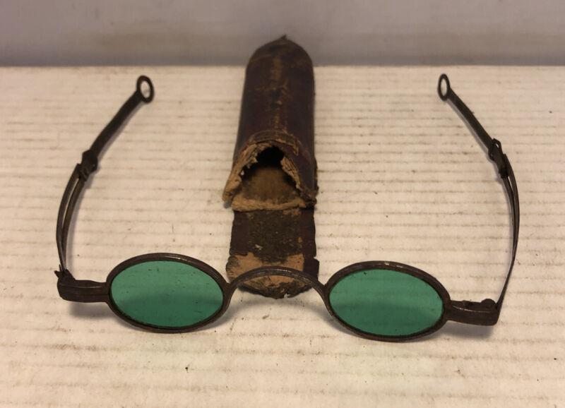 Antique Civil War Era Aqua Marine Adjustable Sun Glasses W Case