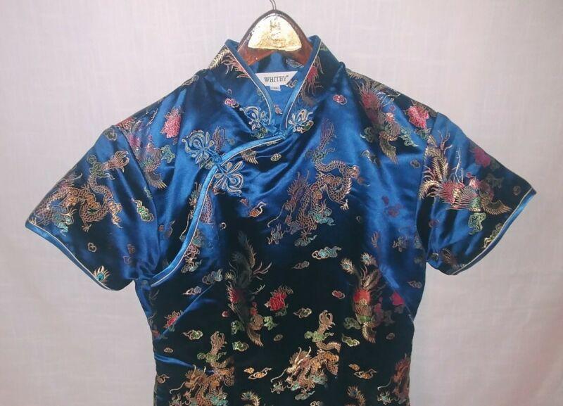 Classic Traditional Asian Chinese Cheongsam Qipao Blue