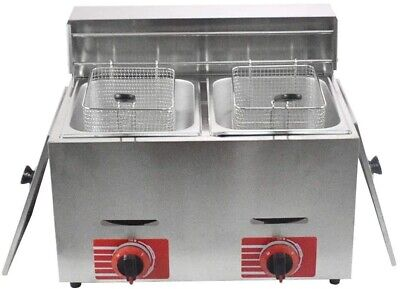 Commercial Stainless Steel Countertop Lpg Gas Fryer Deep Fryer With 10lx2