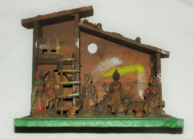 Christmas Nativity Set 10 Figures & Rustic Wood Stable Vintage Made in Italy