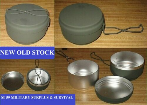3 PC.CZECH ARMY O.D. ALUMINUM MESS KIT -  NEW OLD STOCK - NEVER ISSUED OR USED