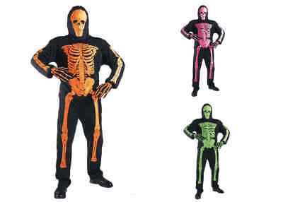 WIM 33446 Fasching Halloween Kinder Kostüm Skelett Neon Skelett Bones Gerippe (Neon Kinder Kostüm)