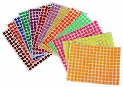 Color Dot Stickers (Sticker Labels for Marking 8mm 1/4 Inch Color Coding Dot Art Stickers 2340)