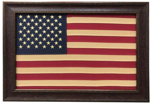 Framed 50 Star Antique American Flag  42