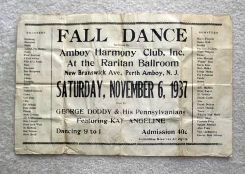 1937 Vintage Dance Flyer ~ Perth Amboy, NJ
