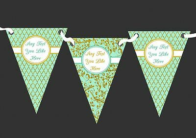 Vintage Mint Green And Gold Damask Personalised Wedding Bunting - Mint Green And Gold Wedding