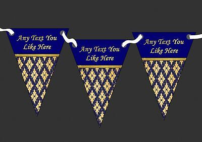 Pretty Navy Blue And Gold Vintage Personalised Wedding Bunting (Navy Blue And Gold Wedding)