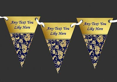 Navy Blue And Regal Gold Damask Personalised Wedding Anniversary Party Bunting (Navy Blue And Gold Wedding)