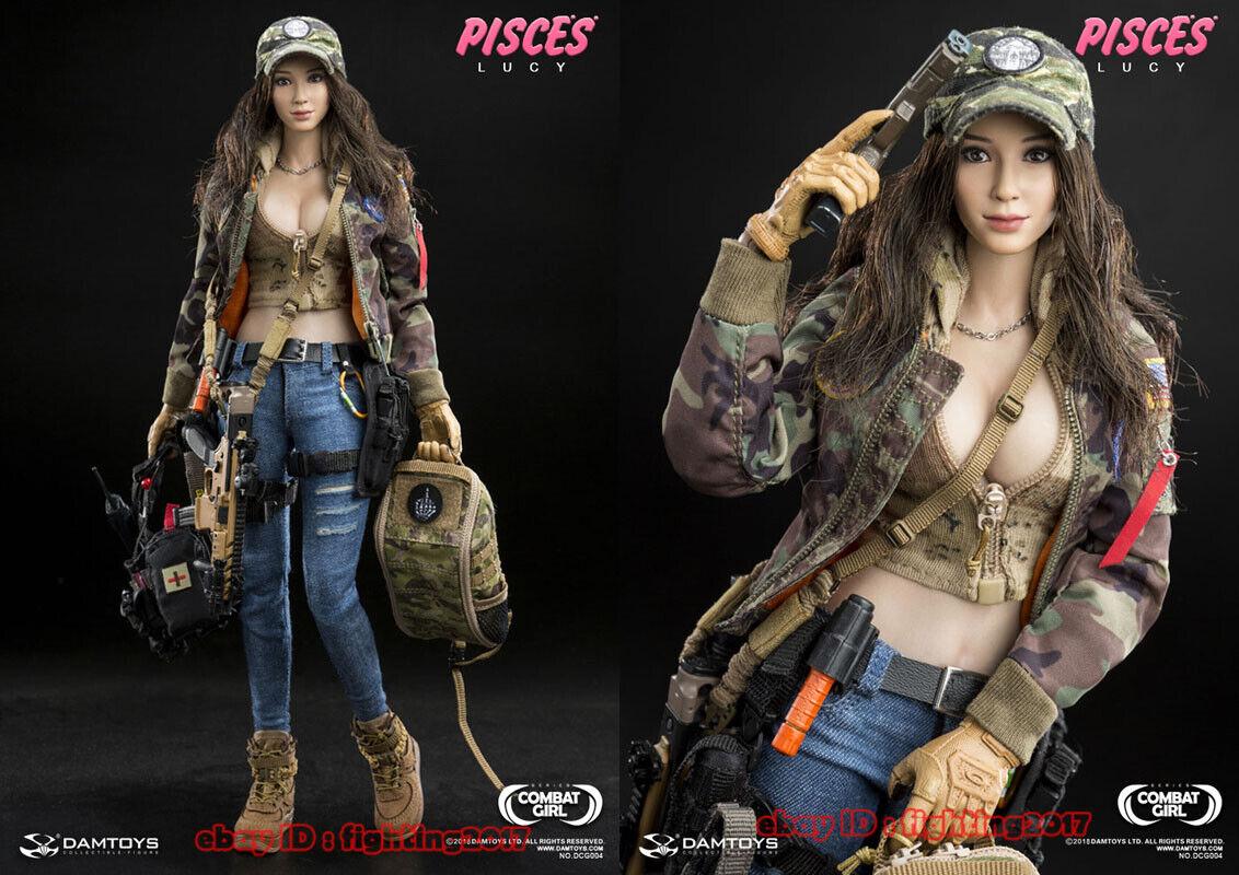 DAMTOYS DCG004 Combat Girl SERIES PISCES Lucy DBDU Hoodie Blue Jeans Black Belt