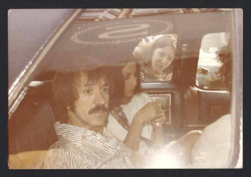 1977 CHER & SONNY BONO Live Candid In Car Vintage Original Photo nb