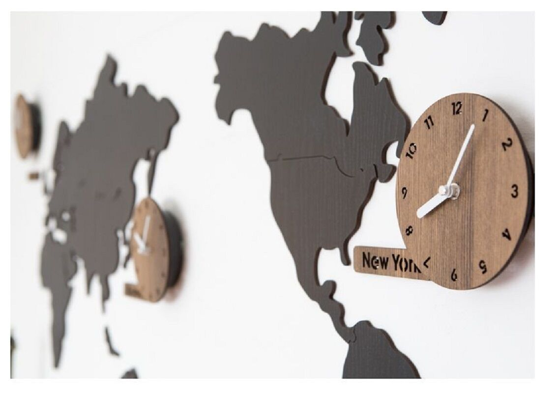 Wooden world map wall clock 3 country time puzzle diy wall silent wooden world map wall clock 3 country time puzzle diy wall silent world clocks gumiabroncs Gallery