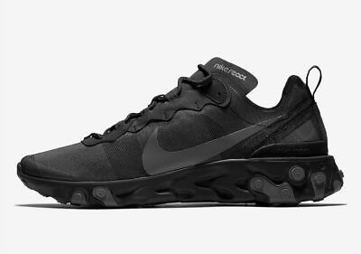 Nike React Element 55 Men's Sportswear Running Shoes BQ6166 008 Black Dark (Element Gray Shoes)