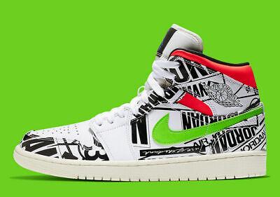 New Men's Air Jordan 1 Mid ALL-OVER-PRINT Shoes (554724-119) White//Black-Green