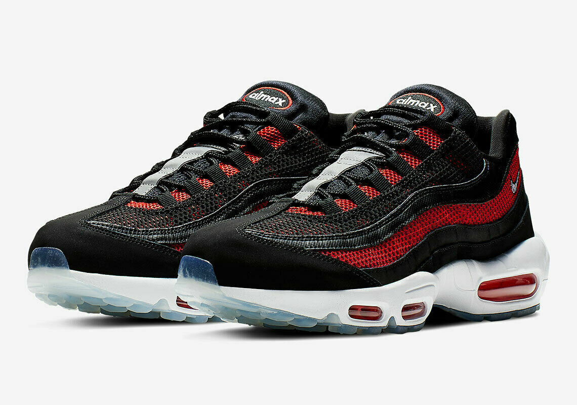 Nike Air Max 95 Essential Men's Running Shoe Black Red White 749766 039 Bred Ice