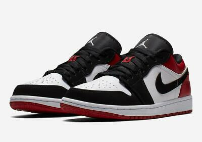 AIR JORDAN 1 LOW MENS OG RED BLACK TOE 553558-116 RETRO BRED NIKE ALL SIZES 8-14 (All Red Jordans)