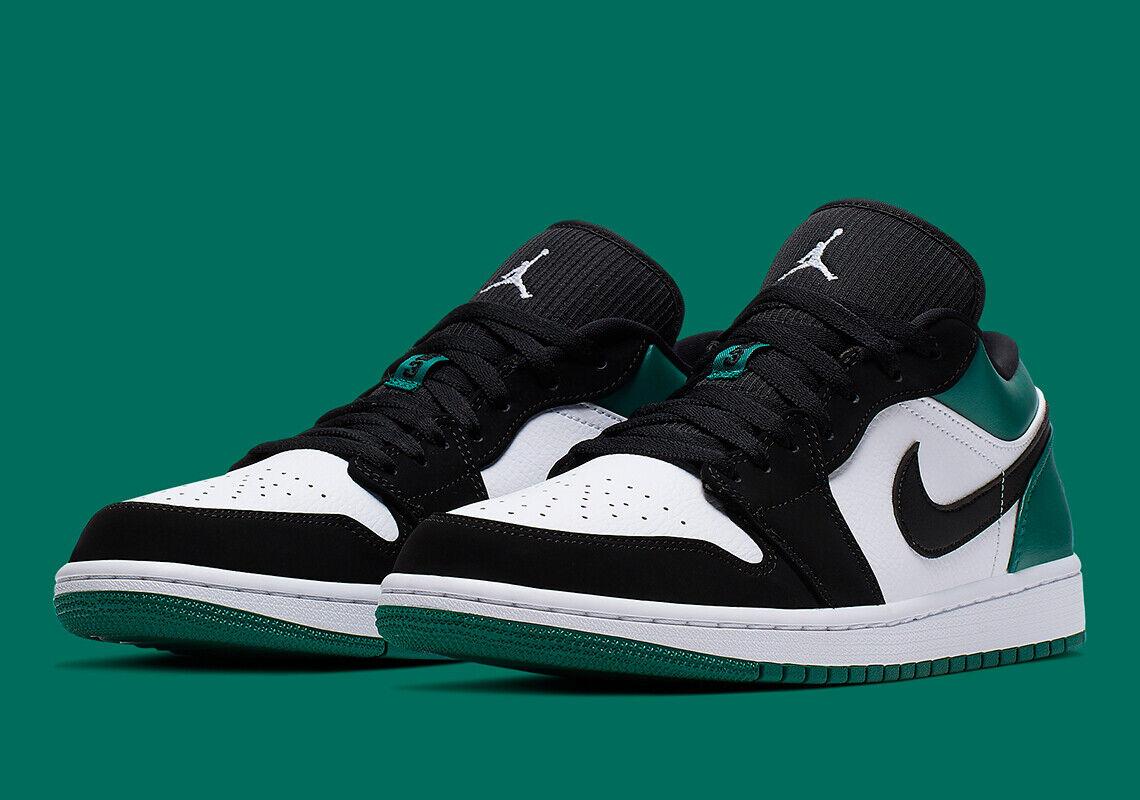 przed Sprzedaż uważaj na dobry Nike Air Jordan Retro 1 Low Mystic Green White Black Men's 553558-113 Sz  7.5-13