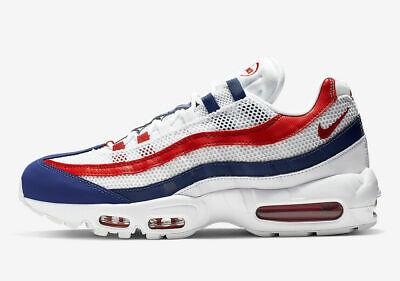 """Nike Air Max 95 """"USA"""" SZ 11.5 White Gym Red Deep Royal Blue CJ9926-100 Mens"""