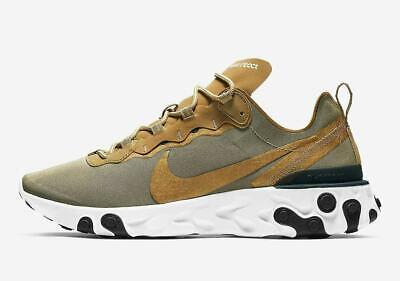 Nike React Element 55 METALLIC GOLD WHITE BLACK BQ6166-700 Multiple Sizes