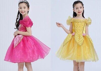 2019 Kids Girls Costume  Princess Dress Belle Cinderella Aurora Elsa Dress Up ZG ()