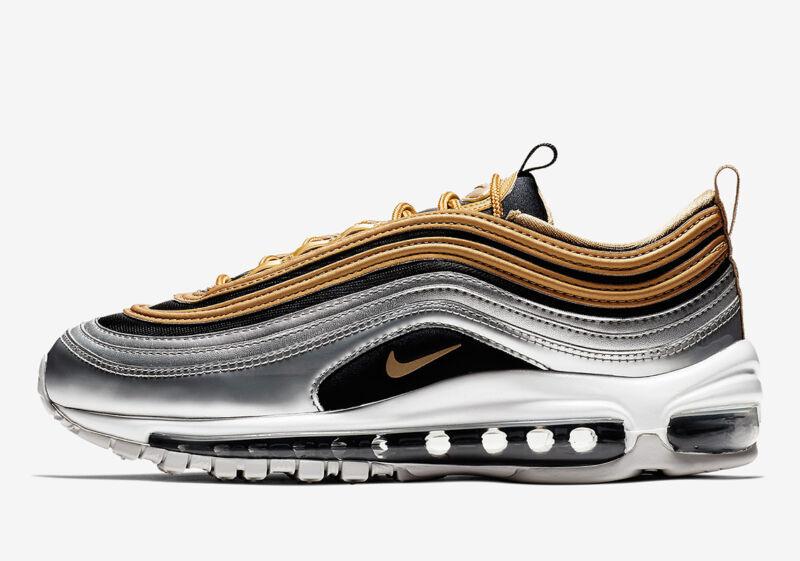 san francisco 58ae4 800a5 New Nike Women s Air Max 97 SE Shoes (AQ4137-700) Metallic Silver-
