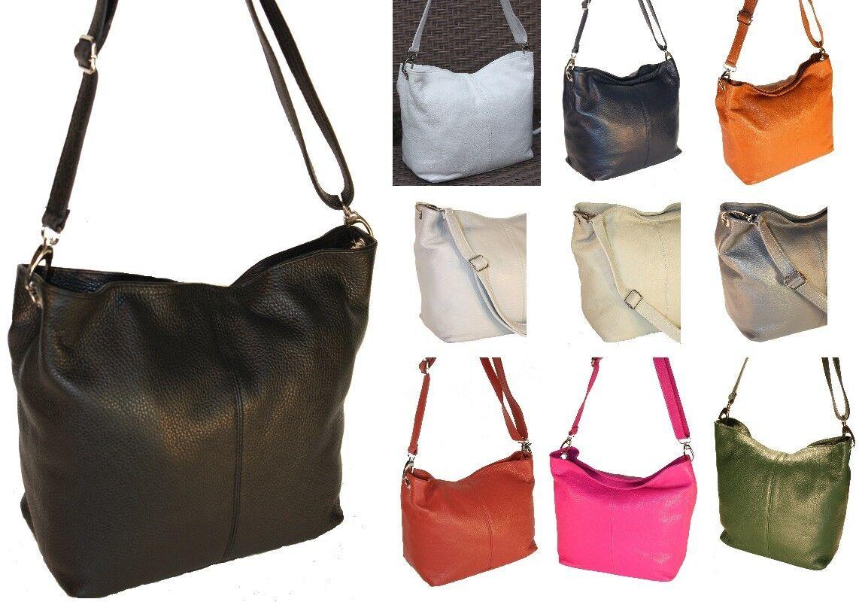 HANDTASCHE Leder Tasche ECHT Italy Ledertasche Beutel XL Farben IT BAG H/M-5