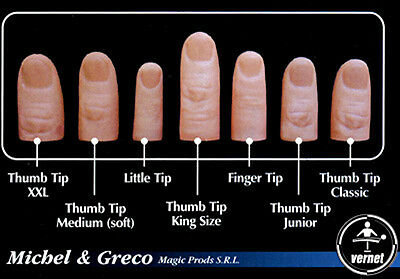 Vernet Thumb Tip Finger Set 7 Magic Trick + Bonus Match & Improved Vanish