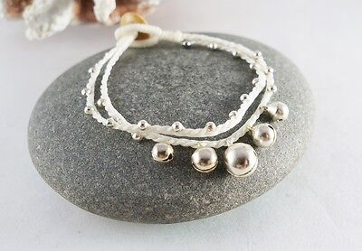 Cool String Bracelets (COOL BRACELET WHITE WAX STRING BEADS JINGLE BELL HANDCRAFT HIPPIE HOBO)