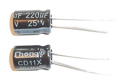 E-projects - 220uf 25v 105c Radial Electrolytic Capacitor 5 Pcs