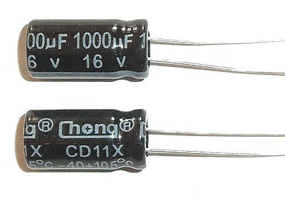E-projects - 1000uf 16v 105c Radial Electrolytic Capacitor 5 Pcs