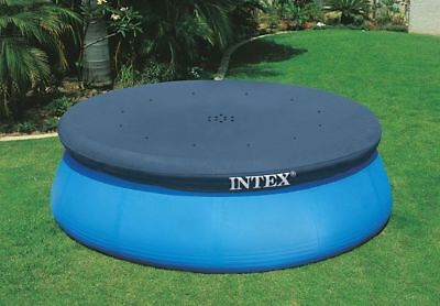 INTEX Round Swimming Paddling Pool Cover Easy Fast Set Rope Ties 8/10/12ft